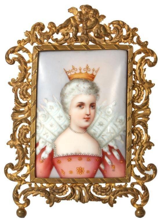 8L: French Ormolu Gilt Frame Porcelain Plaque
