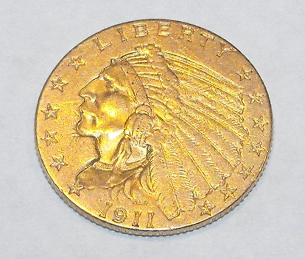 9: 1911 $ 2.5 Gold Indian Coin