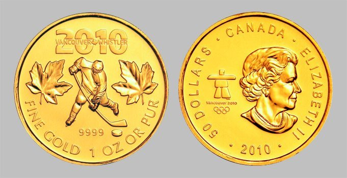 5A: 2010 Solid 999.9 Pure Gold maple Leaf Olympic Hocke