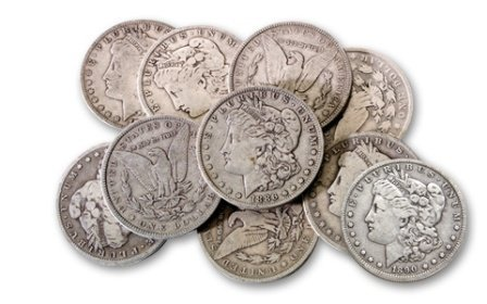 1: A Lot of 10 Morgan Silver Dollars