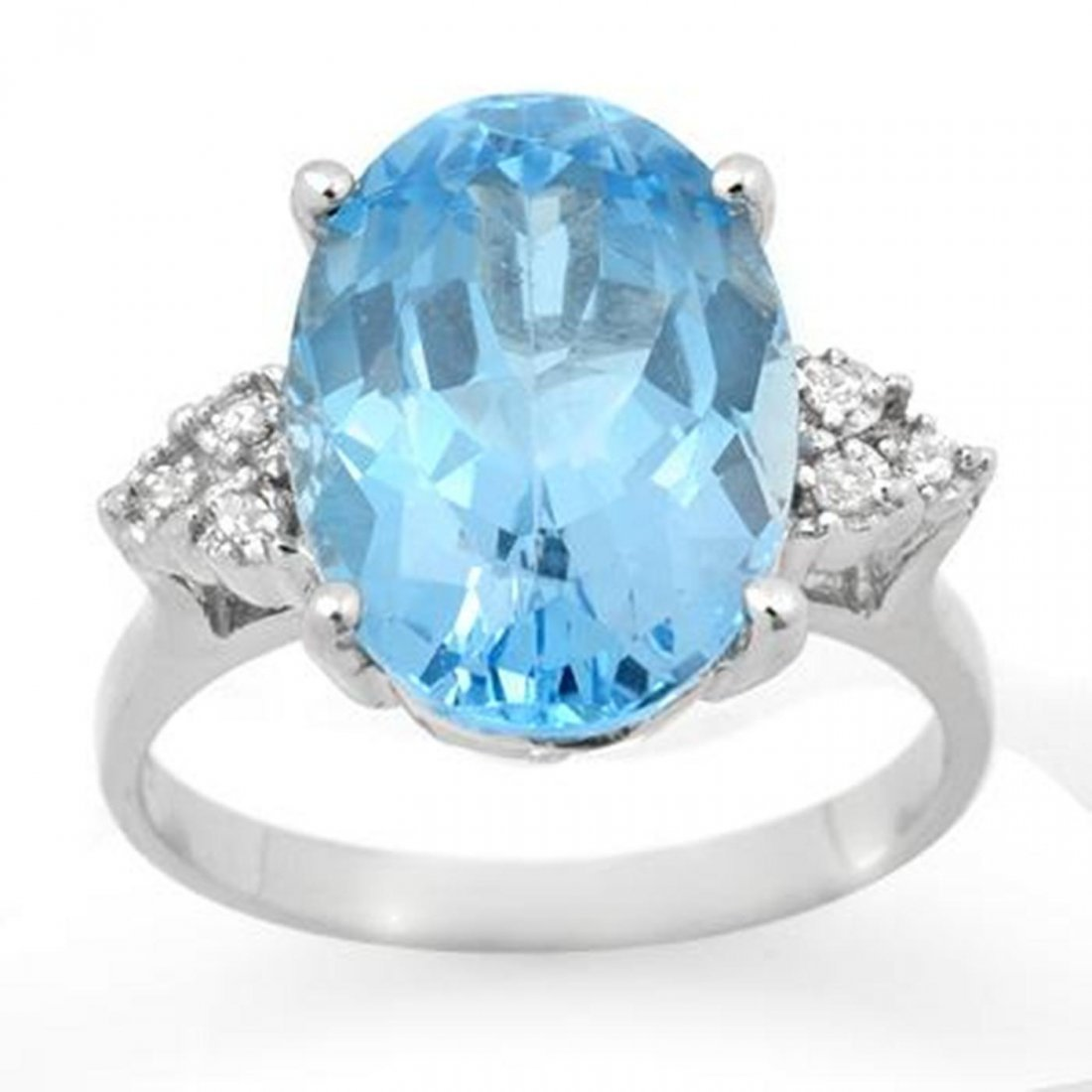 1J: Genuine 6.20 ctw Blue Topaz & Diamond Ring White Go