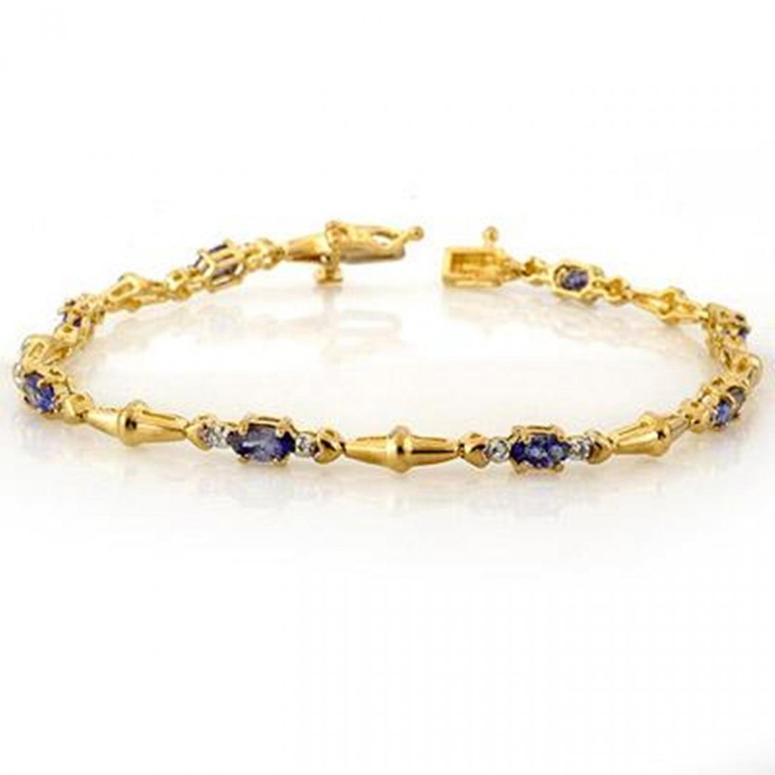 4J: Genuine 2.75 ctw Tanzanite & Diamond Bracelet 10K G