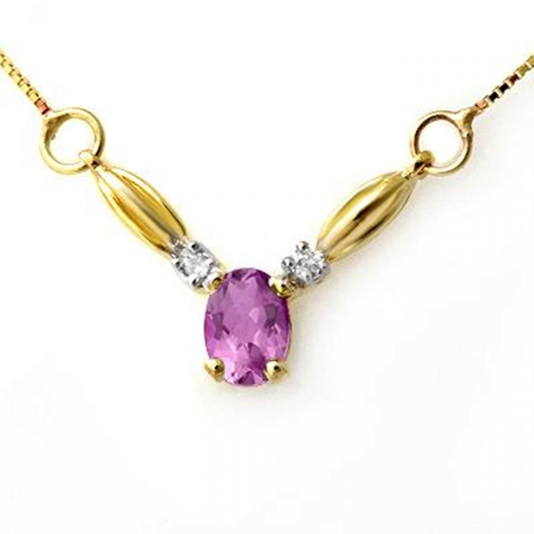 5J: Genuine 1.30 ctw Amethyst & Diamond Necklace 10K Go