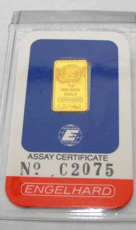 4: 1 Gram Englehard Assayed Pure Gold Bullion