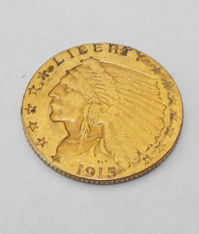 5: 1915 P $ 2.5 Gold Indian Coin