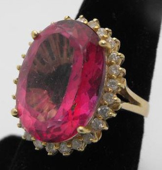 4B: 11 ct. Pink Topaz & Diamond Ring  14k YG