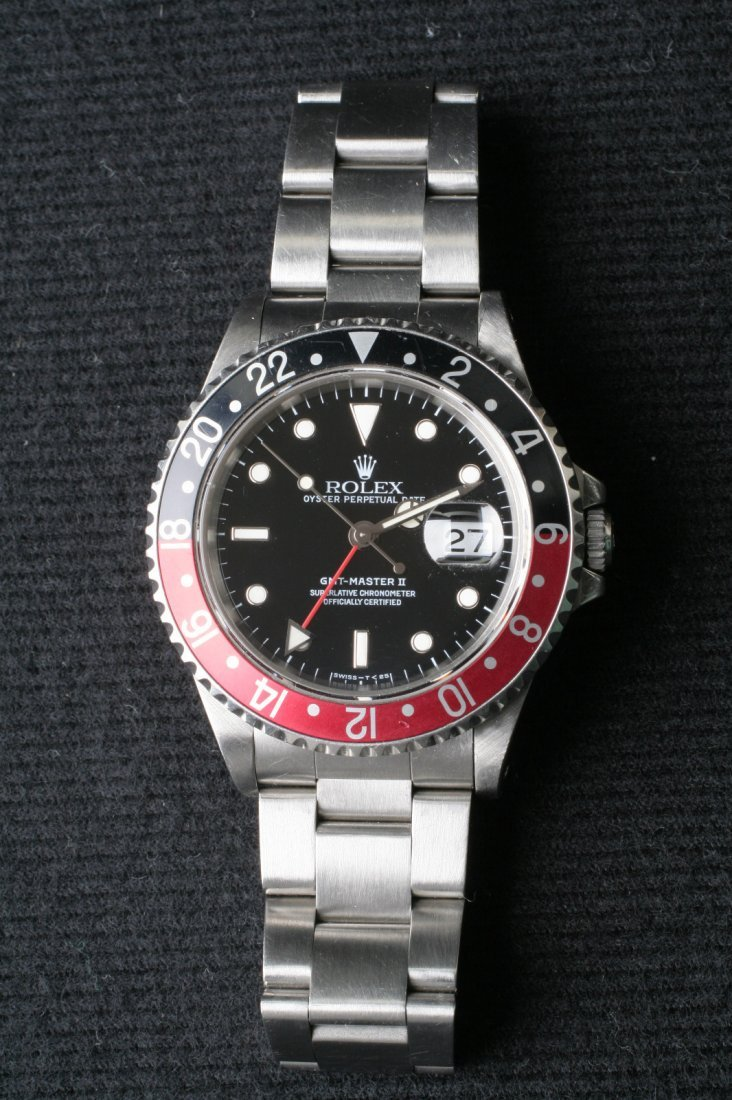 1A: Rolex GMT Master II 16710 Black & Red Bezel Quickse