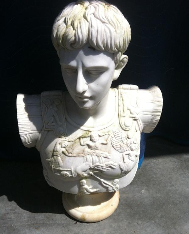 2A: Solid Hand Carved Marble Roman Bust