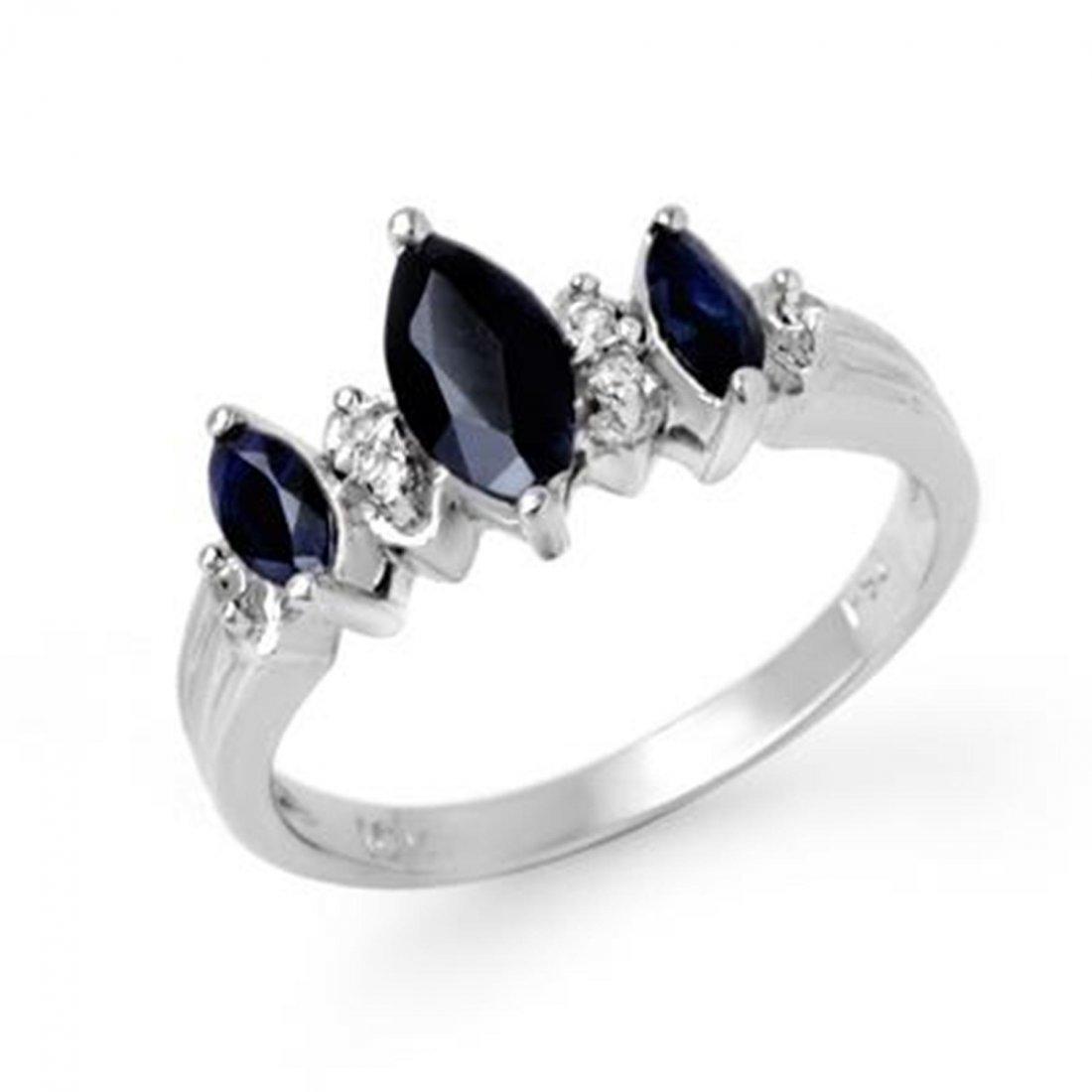 1J: Genuine 1.0 ctw Sapphire & Diamond Ring 10K White G