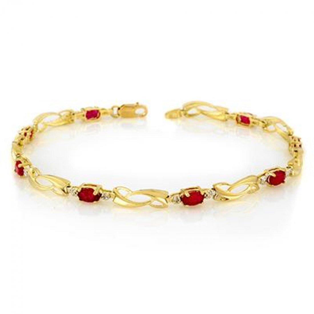 3J: Genuine 2.62 ctw Ruby & Diamond Bracelet Yellow Gol