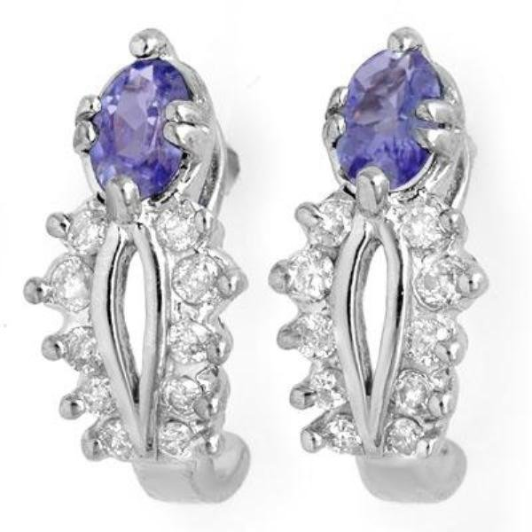 4J: Genuine 0.80 ctw Tanzanite & Diamond Earrings 10K G