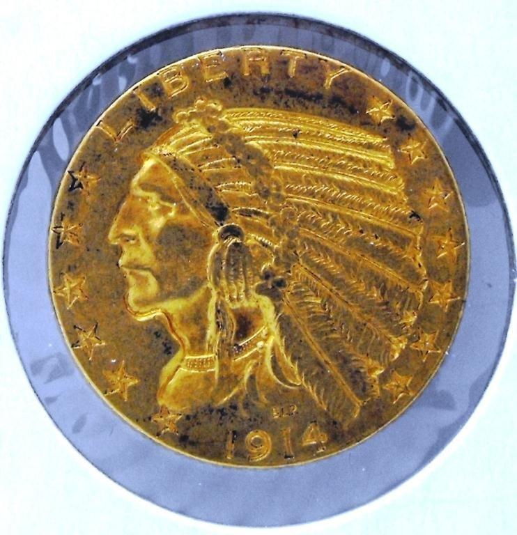 30: 1914 D $ 5 FIVE Dollar Gold Indian