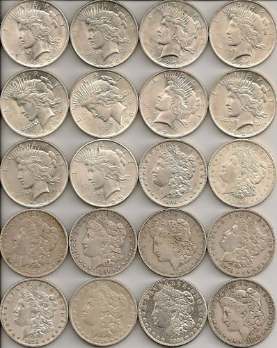 6S: Lot of (20) Silver Dollars - Mixed - 90% Silver