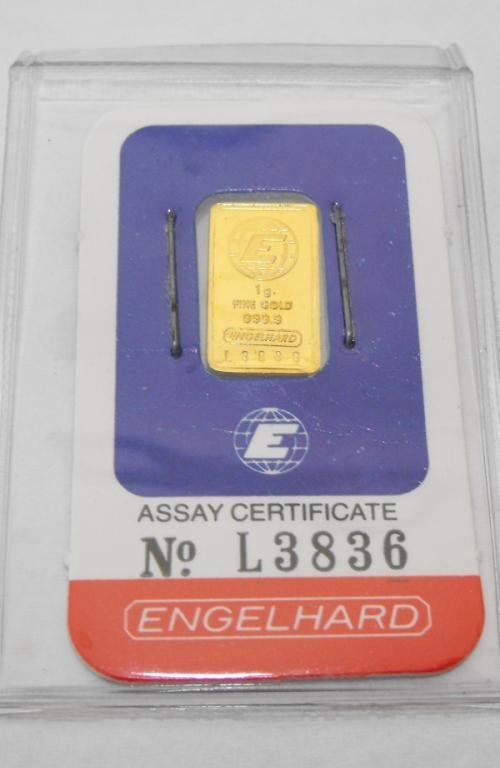 1: 1 Gram Englehard Ingot on Assay Card