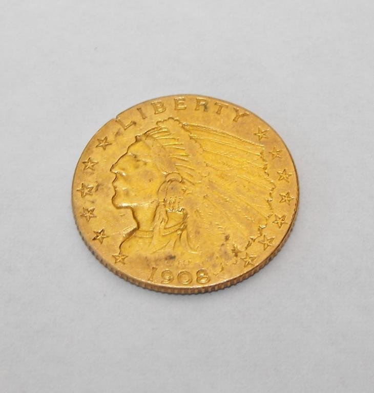 3: 1908 P $ 2.5 Gold Indian Head Coin