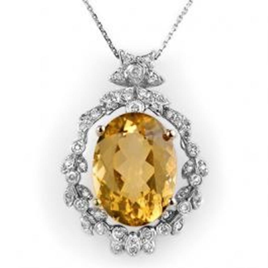 5J: 12.8 ctw Citrine & Diamond Necklace