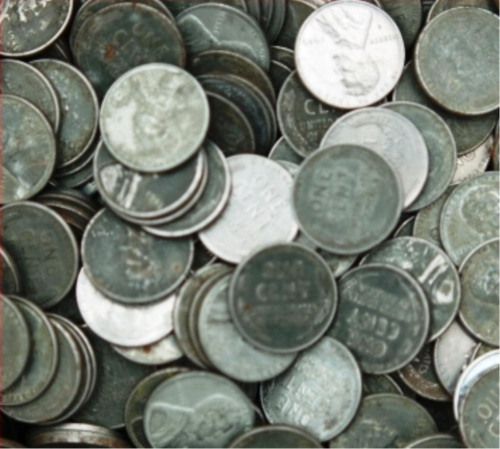 6O: Lot of 100 Steel Wheat Cents