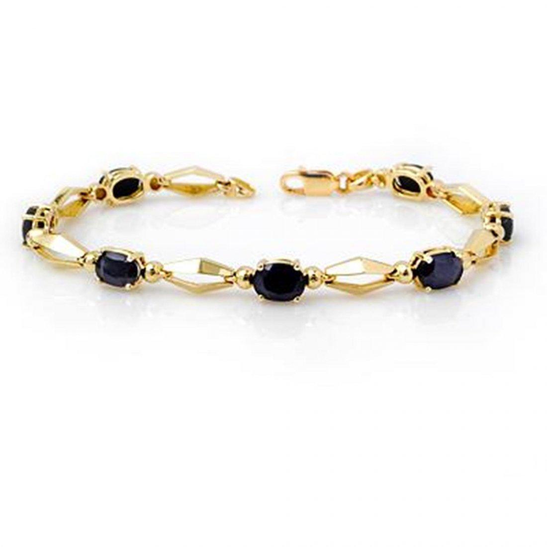 1J: Genuine 7.0 ctw Sapphire Bracelet 10K Yellow Gold