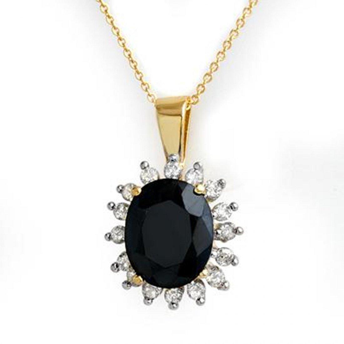 2J: Genuine 5.2 ctw Sapphire & Diamond Pendant 10K Gold