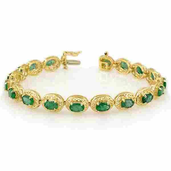 3J: Genuine 10.0 ctw Emerald Bracelet 10K Yellow Gold