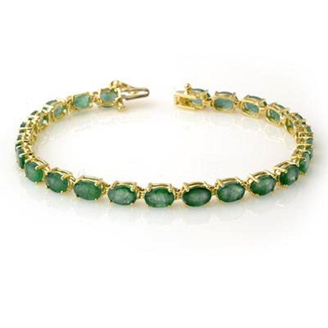 Genuine 14 ctw Emerald Bracelet 10K Yellow Gold