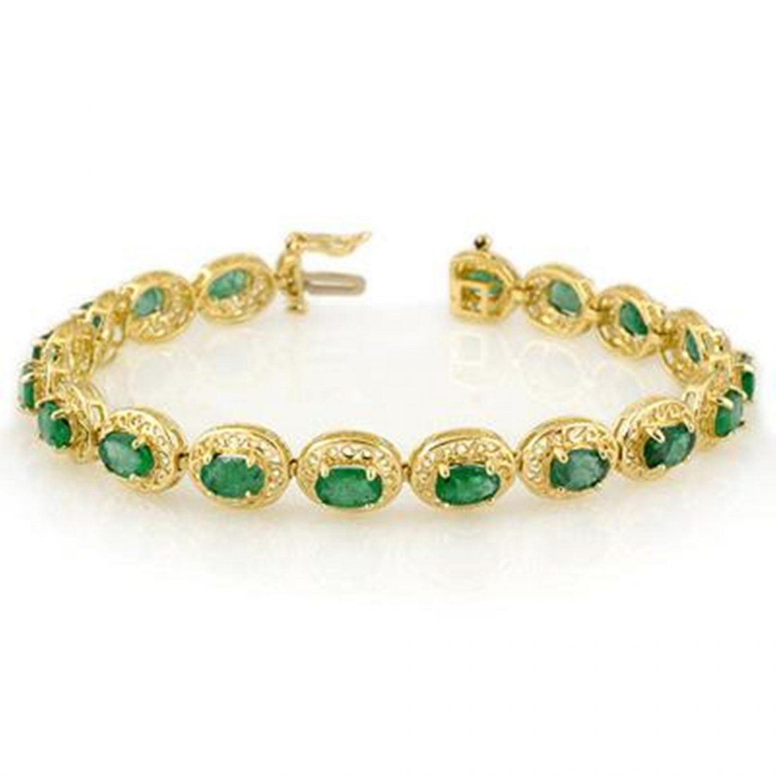 251J: Genuine 10.0 ctw Emerald Bracelet 10K Yellow Gold