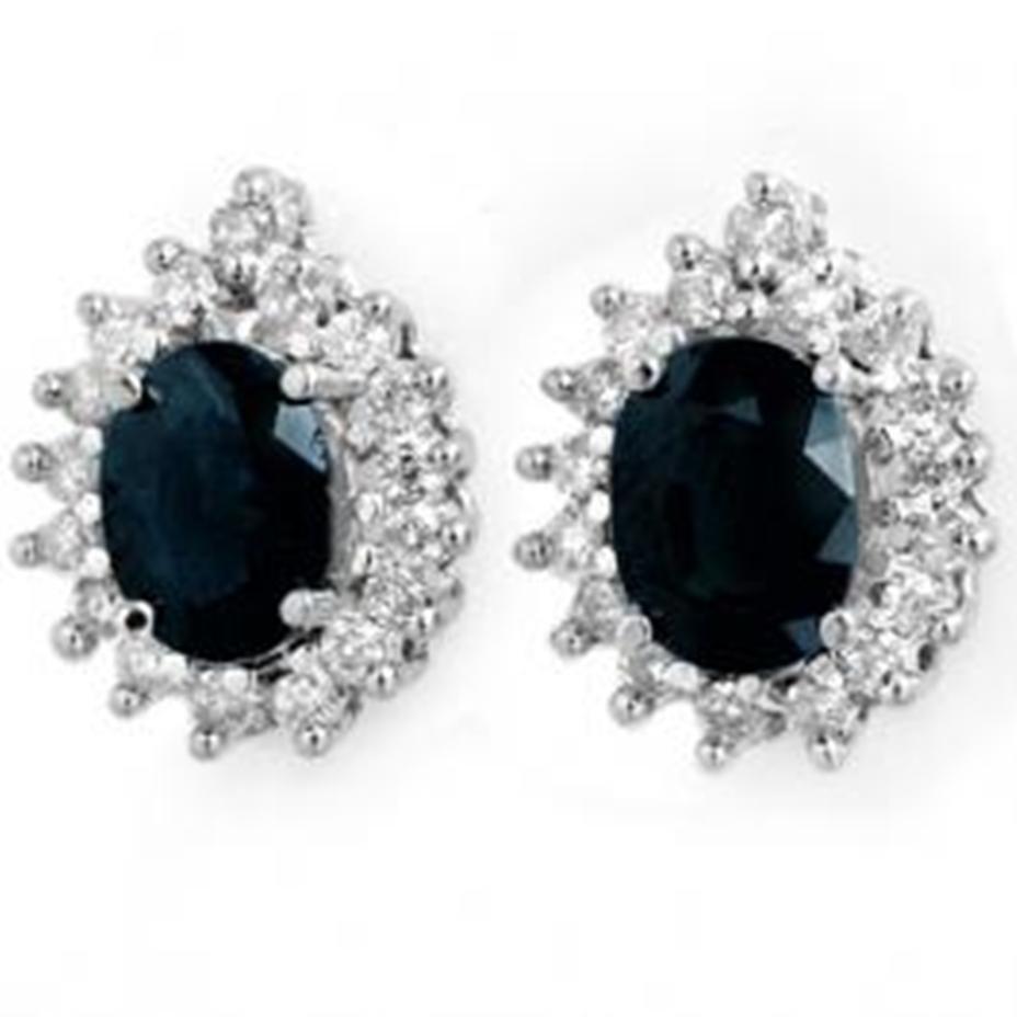 1J: 3.87 ctw Sapphire & Diamond Earrings 14K