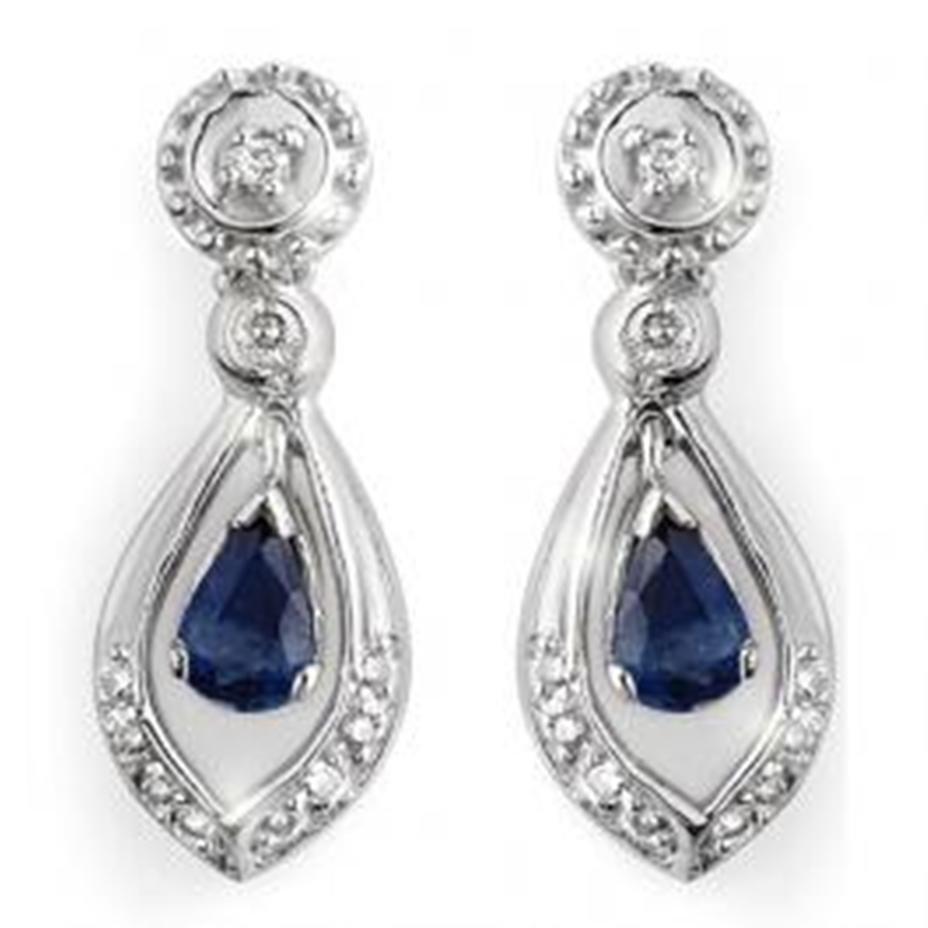 2J: 1.36 ctw Blue Sapphire & Diamond Earrings