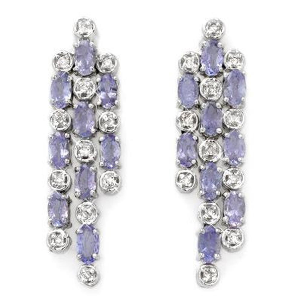 2J: Genuine 4.33 ctw Tanzanite & Diamond Earrings 14K G