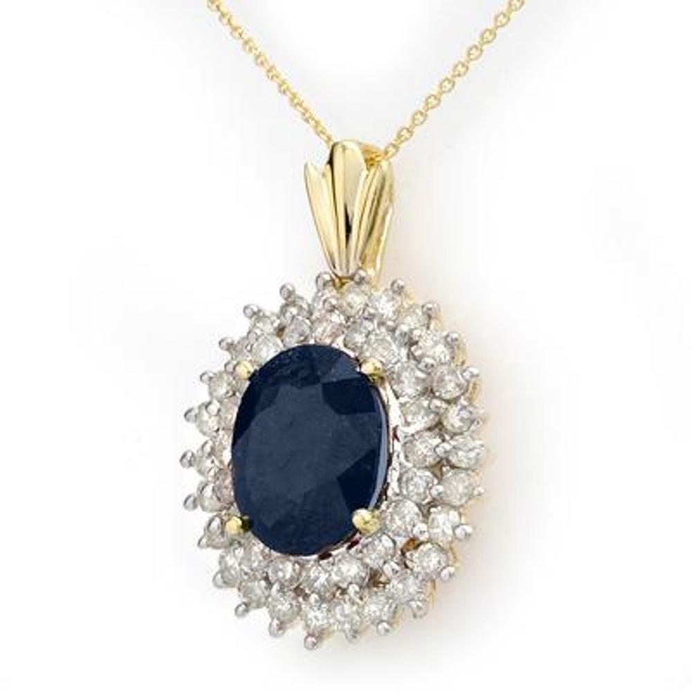 4J: Genuine 11.2 ctw Sapphire & Diamond Pendant 14K Gol