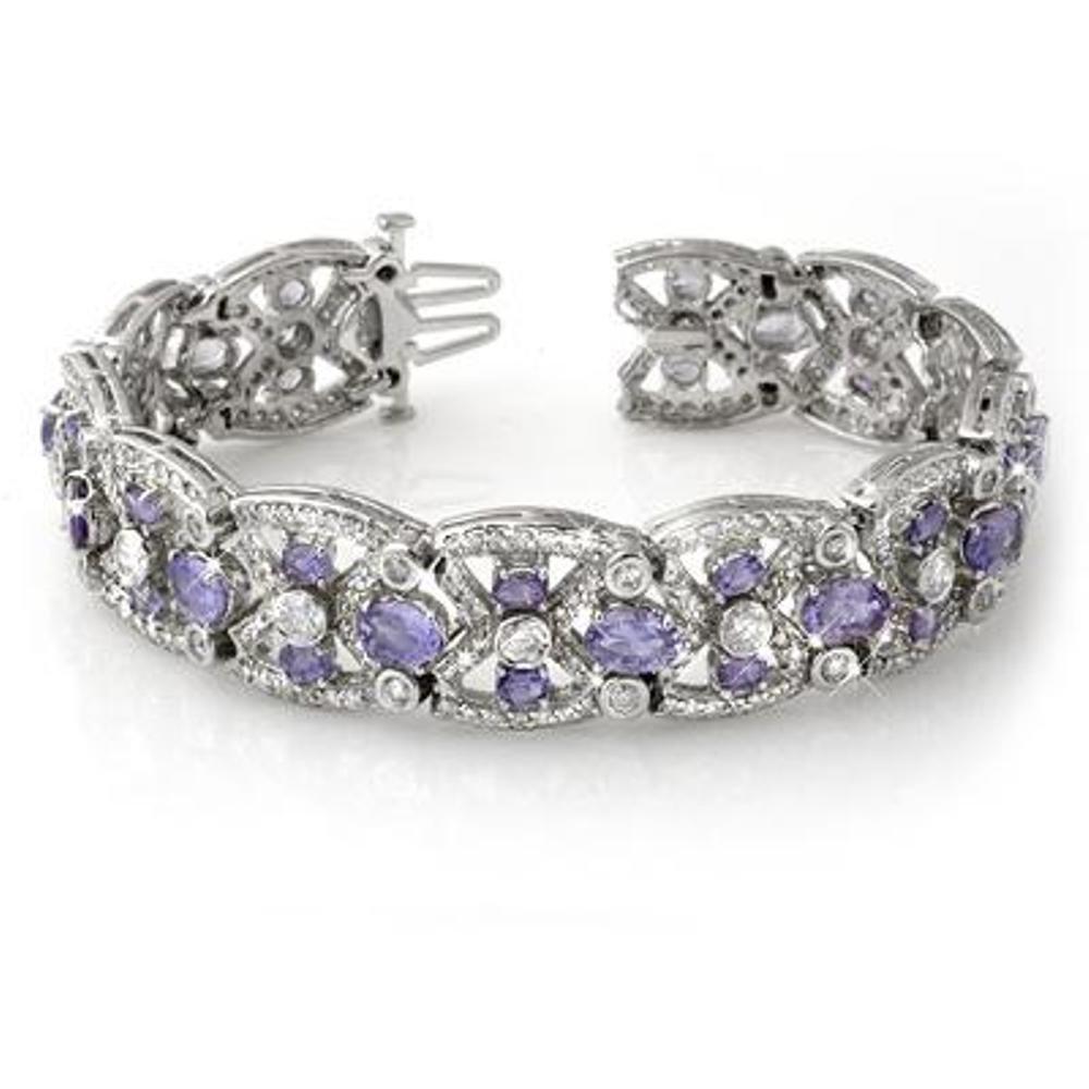 126J: Genuine 24.0 ctw Tanzanite & Diamond Bracelet 14K