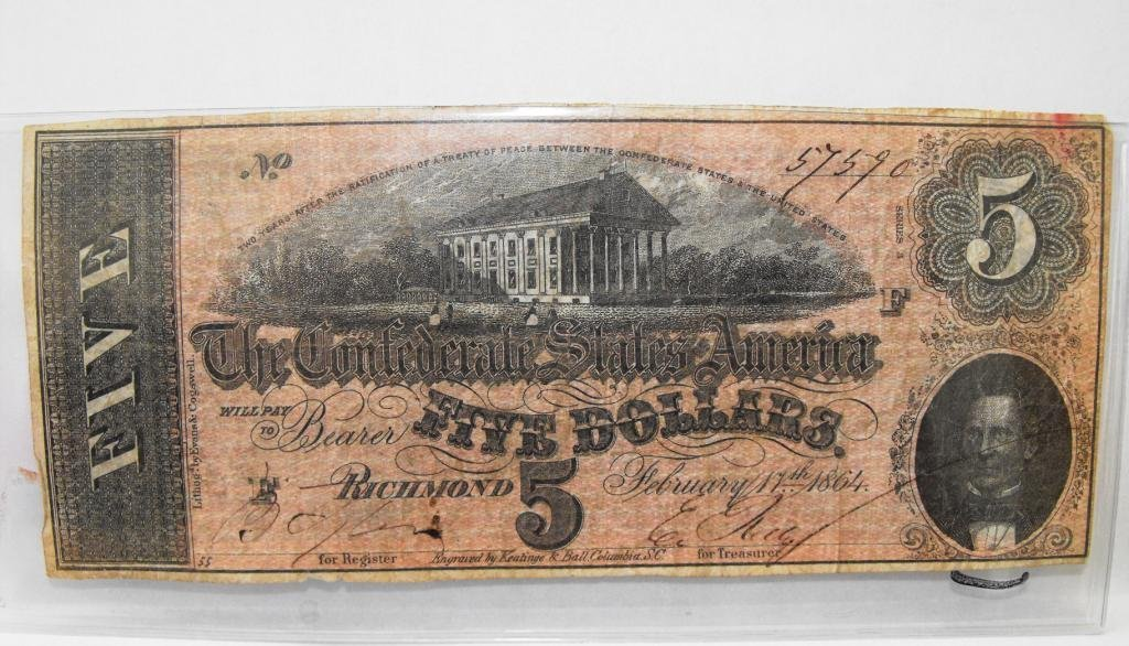 1R: $5 Confederate States Currency Fine