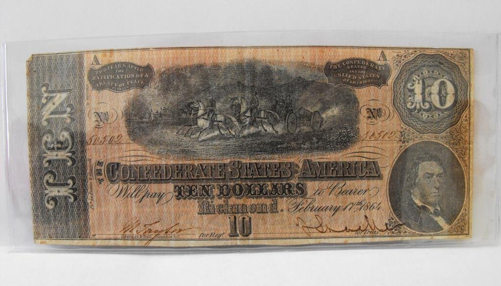 3R: $10 Confederate States Currency Nice Artwork