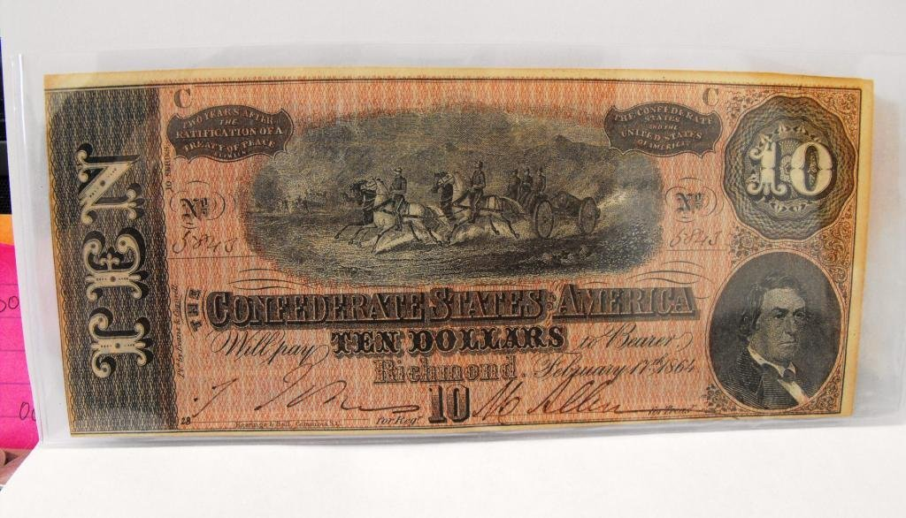 6R: $10 Confederate States Currency
