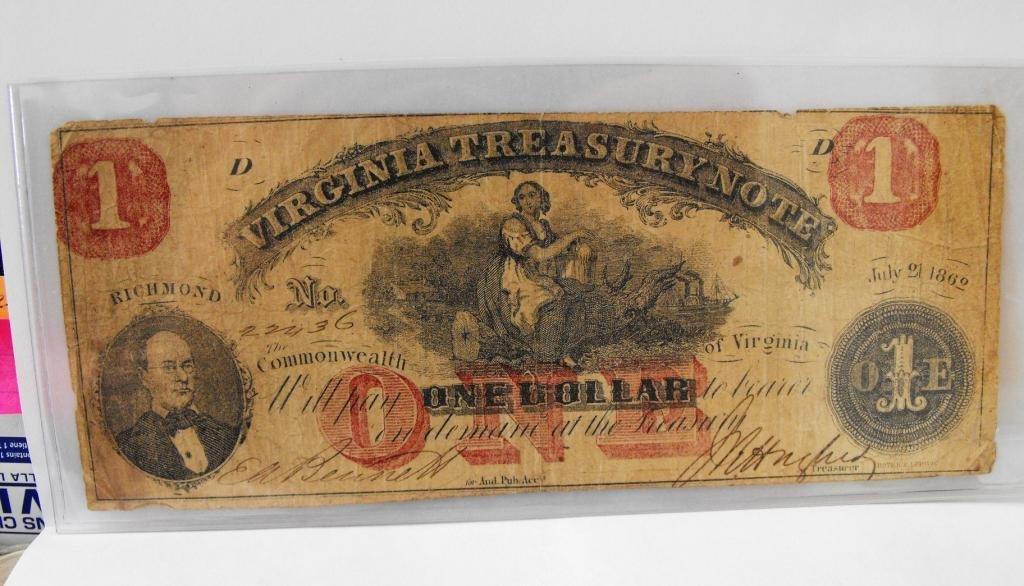 14R: RARE 1862 Virginia Treasury Note Red $ 1