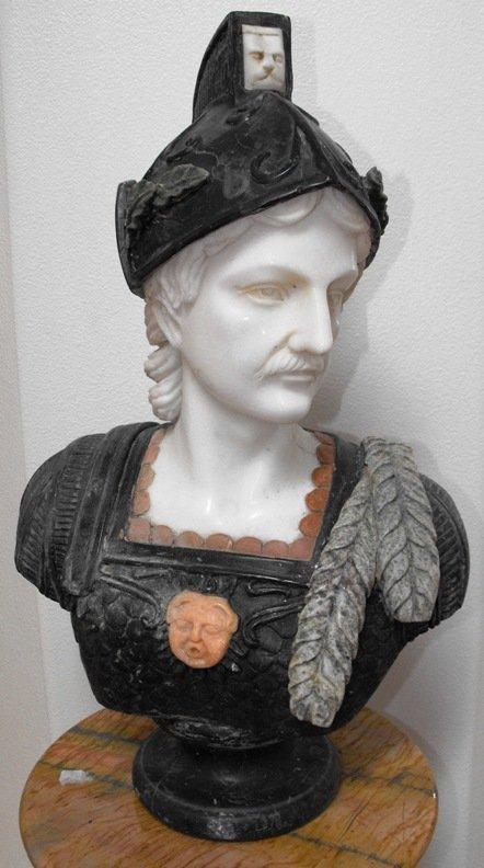 1C: Hand Carved European Marble & Alabaster Bust