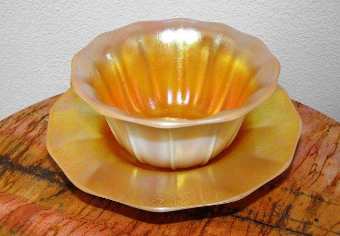 5C: Steuben Gold Aurene Finger Bowl & Liner