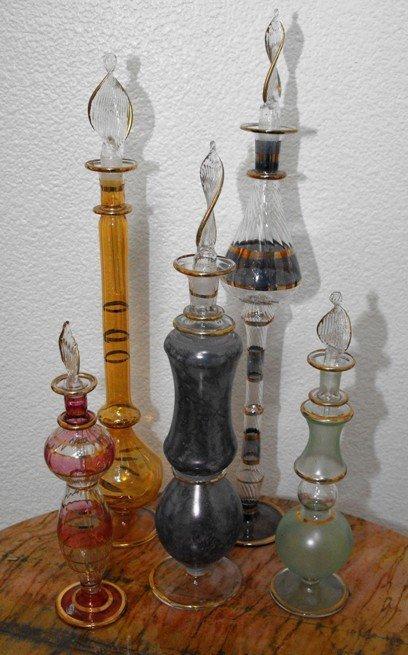 6C: Lot of 5 Egyptian Art Glass Perfume Bottles