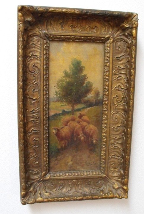 8C: 19th Century Scenic Oil on Canvas w/ Sheep