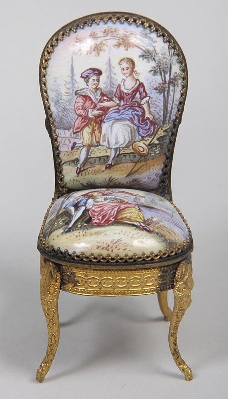 10C: Fine French Porcelain Decorated Miniature Chair