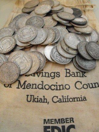 4T: Lot of 50 Morgan Silver Dollars in Bank Bag