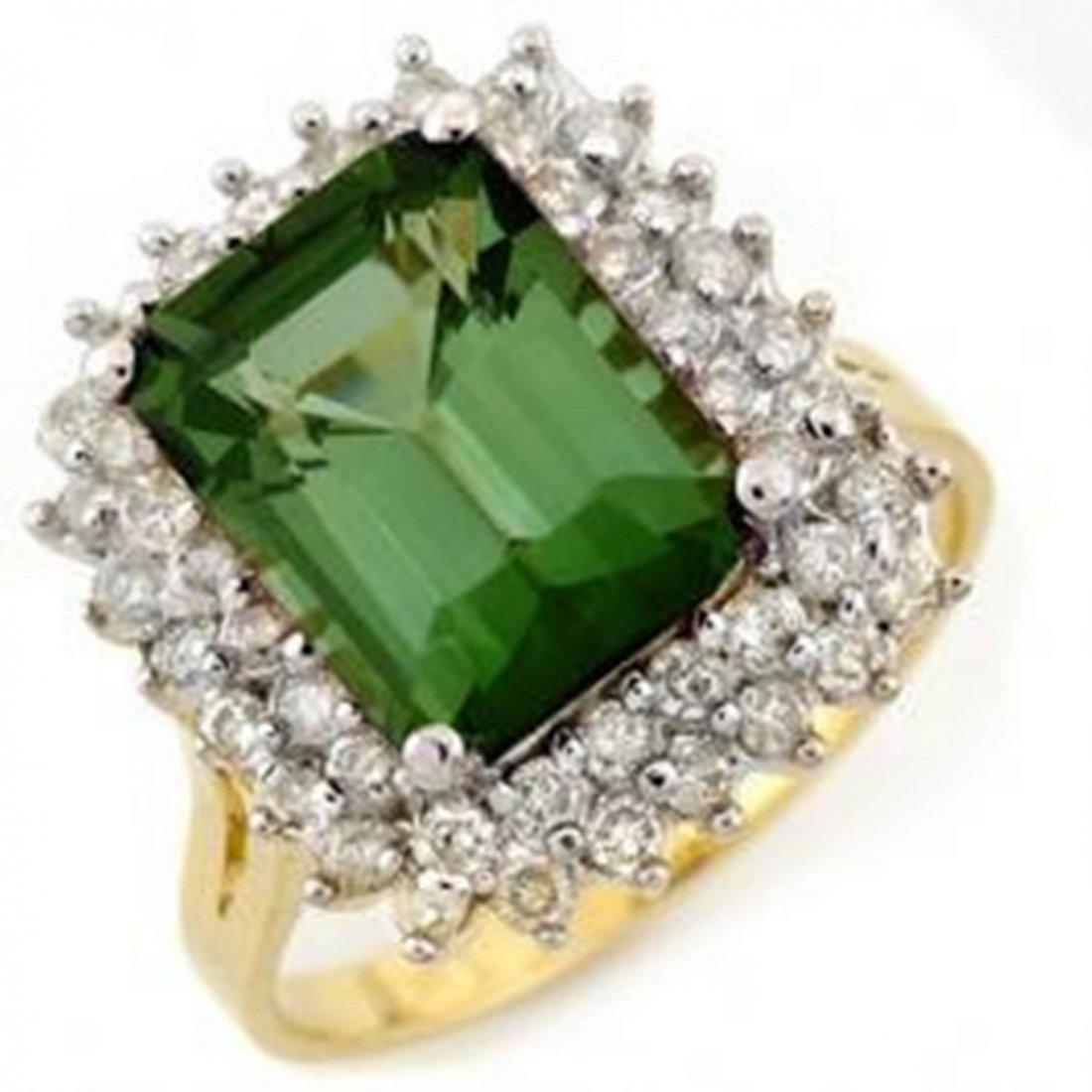 1W: 4.75ct Green Tourmaline & Diamond Ring 14K Gold