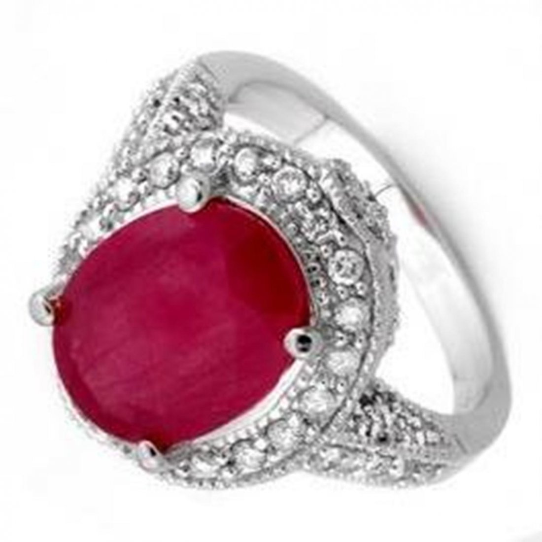 10W: 6.0 ctw Ruby & Diamond Ring 14K White Gold