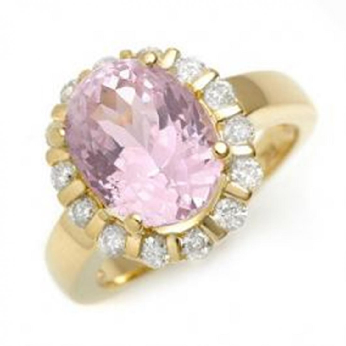 13W: 7.65 ctw Kunzite & Diamond Ring 10K