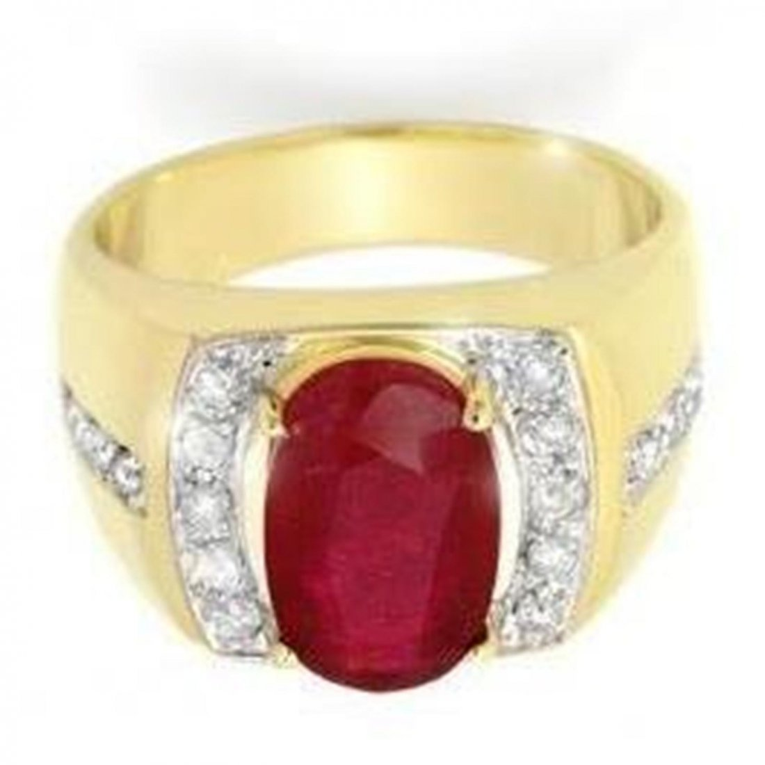 16W: 6.33 ctw Ruby & Diamond Men's Ring Yellow Gold