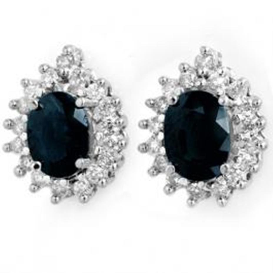 1J: 3.87 ctw Sapphire & Diamond Earrings 14K