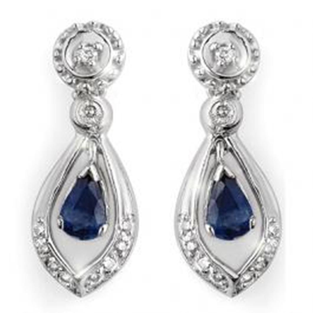 2J: 1.36 ctw Blue Sapphire & Diamond Earrings