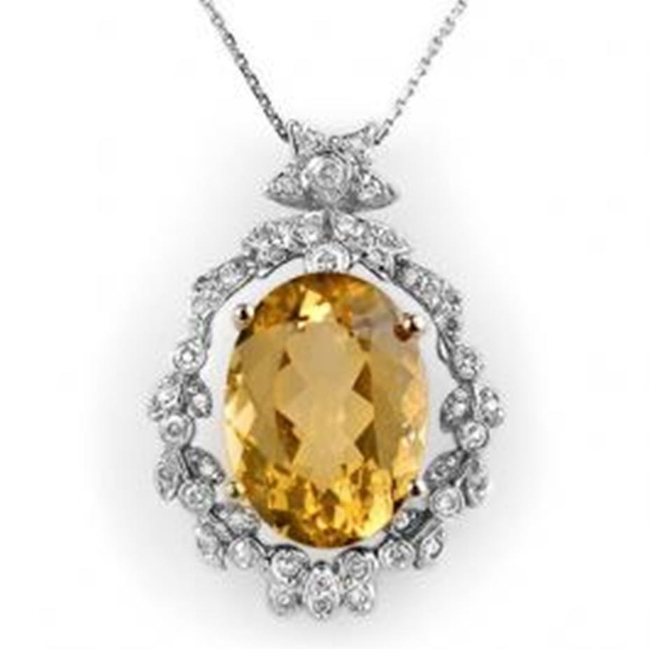 5J: 12.8 ctw Citrine & Diamond Necklace