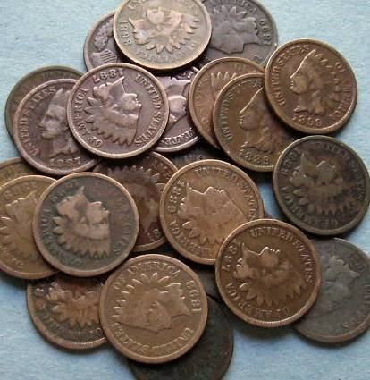 6: 100 Indian Head Cents- Circulated-