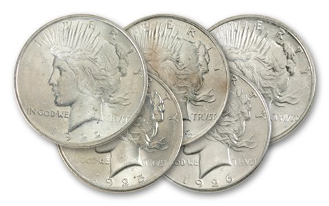 7: Lot of 5 UNC- Peace SIlver Dollars